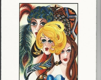 """Watercolor Print """"Three Divas"""" Matted Archival Whimsical Ladies Faces on Etsy"""