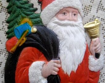 Vintage Germany Christmas Santa Claus Pressed Cardboard Paper Decoration Die Cut