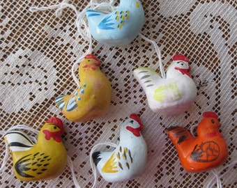 6 Sweden Easter Pottery Folkloric Chicken Chicks Handpainted Ornaments Decorations