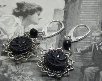 Antique Victorian Mourning Black Fleur de Lis Button Genuine WHITBY JET EARRINGS Vintage Haskell Filigrees and Sterling Silver Lever-backs