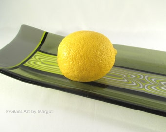 Fused Glass Plate Channel Tray Platter Gray Sage Yellow Flow Pattern