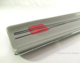 Skinny Fused Glass Plate Serving Tray Contemporary Gray Red Black