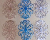 6 Large Foil Flourish Die Cuts Made With Anna Griffin Dies 5.5 by 4 Inches Metallic Cardstock