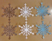 6 Snowflake Die Cuts Made With Anna Griffin Die 4 by 4.5 Inches Glitter Cardstock