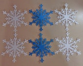 6 Snowflake Die Cuts Made With Anna Griffin Die 4 by 4.5 Inches White and Turquoise Cardstock