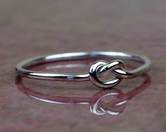 Sterling silver knot ring, love knot ring, thin silver friendship ring, tied silver ring, promise ring, gift for pen pal
