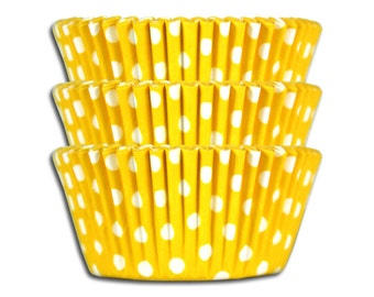 Yellow Polka Dot Baking Cups - 50 paper cupcake liners
