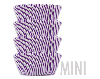 Mini Purple Candy Stripe Baking Cups - purple stiped cupcake liners, cupcake papers