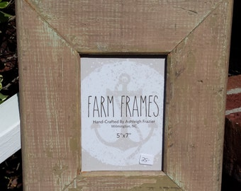 5 x 7 TAN old vintage wood picture frame