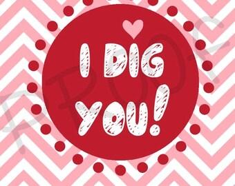 I Dig You Valentine Tag Printable Valentine Tag Digital File