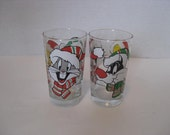 Vintage Looney Tunes Promotional Christmas Drinking Glasses Sylvester Tweety Bugs Bunny