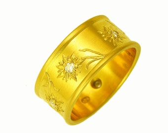 Edelweiss ring with diamonds and 100 percent recycled 22k gold