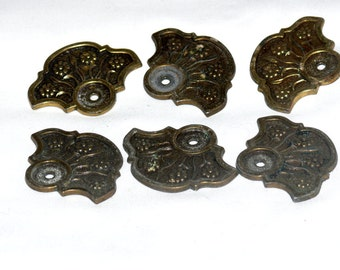 TEN Vintage Brass Drawer pull Back Plates - Set of TEN - Three Sets Available