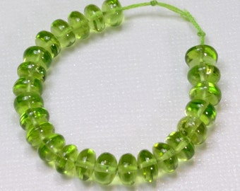 6MM-6.5MM Afghani Peridot Smooth Rondelle Beads 3.5 inch strand