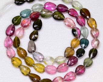 "Pink Green Blue Yellow Tourmaline Faceted Pear Briolette Bead 15.7"" Strand"