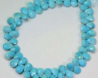 """Sleeping Beauty Turquoise Faceted Pear Briolette Beads 10"""" Strand"""