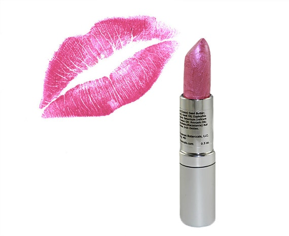 Pink Lipstick in Peony - organic lippie hand poured lip stick Rosy sheer color