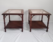 2 LANE holywood regency faux bamboo glass top side tables