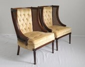 2 FRENCH neoclassical dark wood cane petite wing chairs