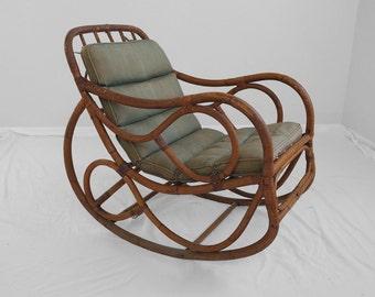 1930s italian Franco Albini style rattan rocking chair FOR RESTORATION