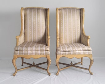 2 HIGH BACK cabriole leg & finial topped wing chairs by MOORE furniture