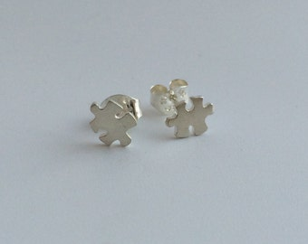 Mini Puzzle Piece Sterling Silver post stud earrings