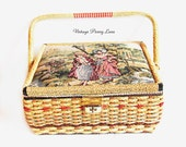 Vintage Sewing Basket / Box / Craft Storage / Needlepoint Lid
