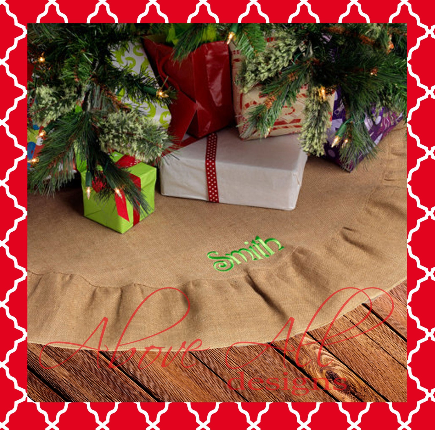 Sale embroidered burlap christmas tree skirt