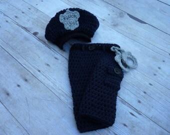 Custom Crochet Little Policeman Pant Set