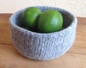 Felted Wool Bowl Fog Grey