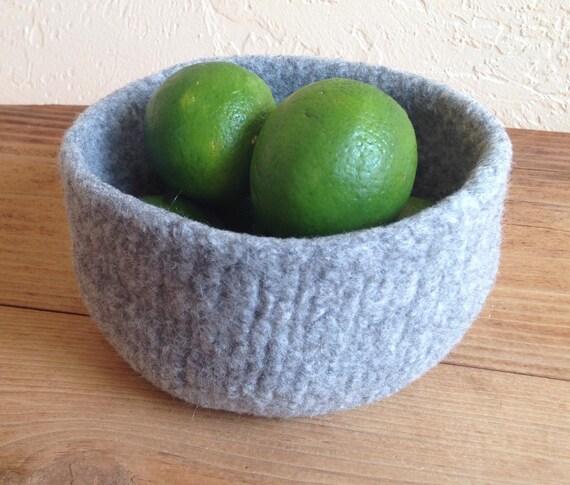 Felted Wool Bowl Fog Grey