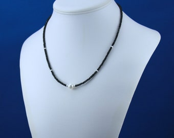 Black Necklace, Black Spinel Necklace, Pearl Necklace, Evening Necklace, Precious Black Gem Necklace, White Freshwater Pearl Necklace