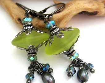 Tumbled Green Danglers - Lampwork Earrings