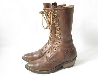 Vintage Brown Leather Lace Up Packer Boots. Size 6 Women's