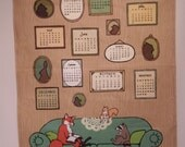 Sale! Forest Family 2016 Linen Tea Towel Calendar, Fox, Raccoon, Squirrel, Bunny, Woodland, Wall Hanging Eco Friendly, Monthly Dates