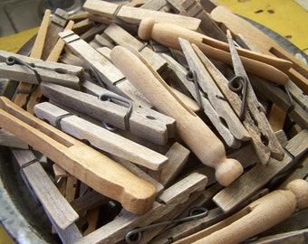 Vintage - Wooden Clothespins - Group of 65