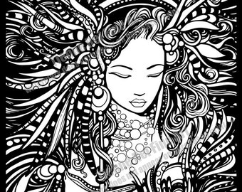 PRINTABLE Coloring page for Adults created by Tienne Rei entitled Calypso DOWNLOAD ONLY