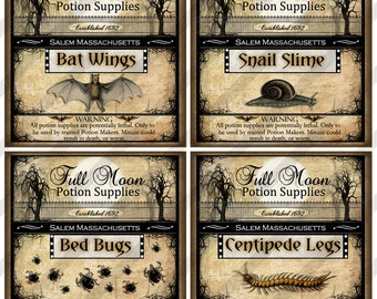 Digital Collage Sheet, Potion Labels, Vintage Halloween, 2X2 inches, Apothecary Labels (Sheet No. FS246) Instant Download