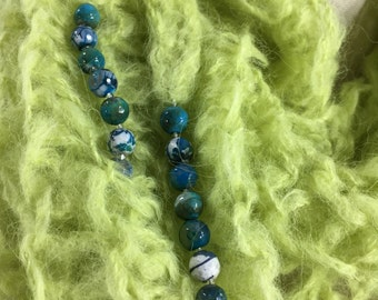 Wearable Fiber Art, Mindful Wrap-Blue Fire Agates on a Chartreuse Suri, Merino, Bamboo Mindfulness Mantle