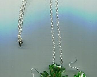 glass cross pendant necklace earrings jewelry set silver chain green lampwork neckless