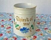 Antique Edwardian 1910 Era Hand Painted Porcelain Motto or Gift Mug, Think of Me, Flower Banner, Souvenir Mug, Motto Cup