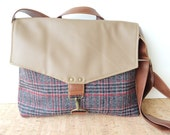 SALE commuter • leather and canvas crossbody bag  • navy and red vintage wool plaid - taupe faux leather - gray tweed • small messenger