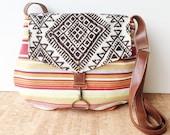 satchel • crossbody - geometric print • bright striped canvas - southwestern print cotton - tribal style