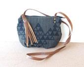 date purse  • small crossbody bag - geometric triangles on herringbone • triangle print - hand screenprinted - charcoal herringbone • vukani