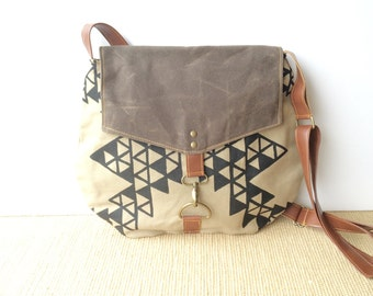 satchel • waxed canvas crossbody bag - geometric print • hand printed khaki canvas - triangle print - brown waxed canvas • vukani
