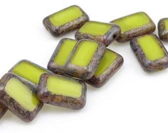 Light Olive Green Chartreuse Green Beads 12mm x 8mm Rectangle Beads Picasso Czech Glass Beads Table Cut Apple Green Pressed Glass