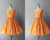 1960s Dress / Vintage Early 60s Summer's End Dress / 50s Full Skirt Sundress