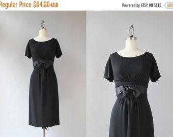 STOREWIDE SALE 1960s Little Black Dress / Vintage 1950s Black Rayon Crepe Wiggle Dress / Fitted Satin Bow Belt 50s Dress