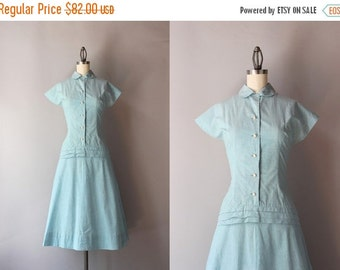 STOREWIDE SALE 1940s Dress / Vintage 40s Pale Chambray Day Dress / 1950s Peter Pan Collar Cotton Dress