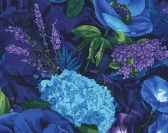Floral Purple Blue Midnight Timeless Treasures Fabric 1 yard